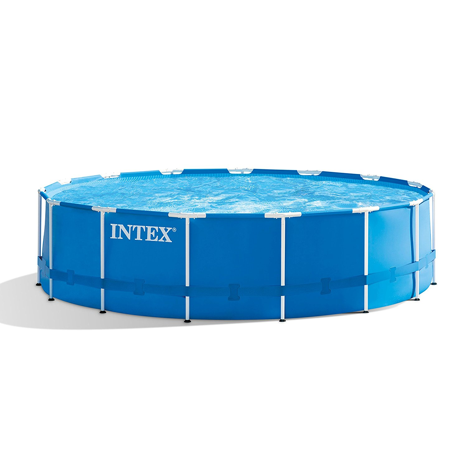 Intex 28241EH 15ft X 48in Metal Frame Pool Set with Filter Pump, Ladder, Ground Cloth & Pool