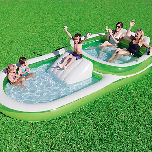 Bestway H2OGO! Two-In-One Wide Inflatable Family Outdoor Pool  Features Dual Pool and Slide Combo  Cup Holders  Easy Set Up  Green/White